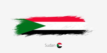 Flag of Sudan, grunge abstract brush stroke on gray background. Vector illustration.