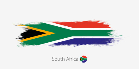 Flag of South Africa, grunge abstract brush stroke on gray background. Vector illustration.