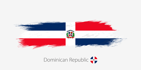 Flag of Dominican Republic, grunge abstract brush stroke on gray background. Vector illustration.