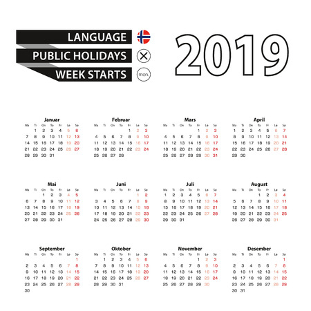 Calendar 2019 in Norwegian language, week starts on Monday. Vector calendar 2019 year.