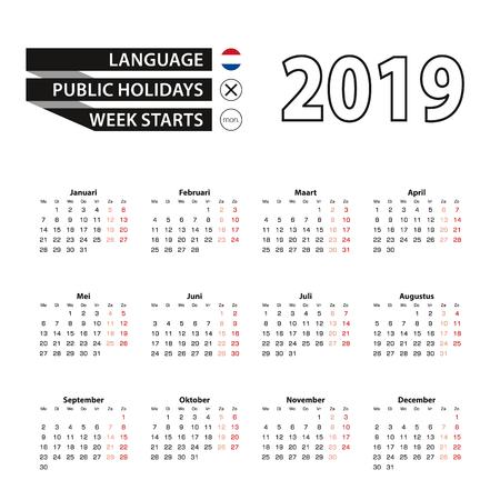Calendar 2019 in Dutch language, week starts on Monday. Vector calendar 2019 year.
