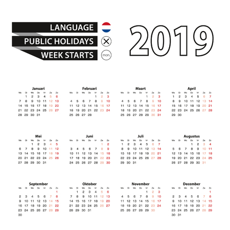 Calendar 2019 in Dutch language, week starts on Monday. Vector calendar 2019 year.