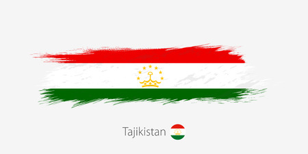 Flag of Tajikistan, grunge abstract brush stroke on gray background. Vector illustration.