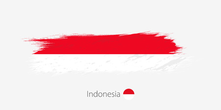 Flag of Indonesia, grunge abstract brush stroke on gray background. Vector illustration.