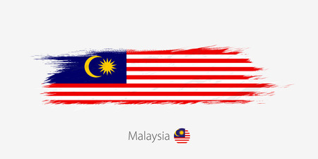 Flag of Malaysia, grunge abstract brush stroke on gray background. Vector illustration.