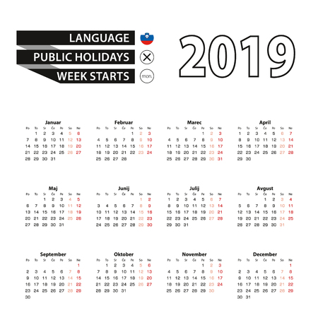 Calendar 2019 in Slovenian language, week starts on Monday. Vector calendar 2019 year. 일러스트