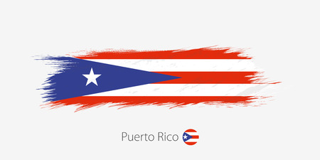 Flag of Puerto Rico, grunge abstract brush stroke on gray background. Vector illustration.
