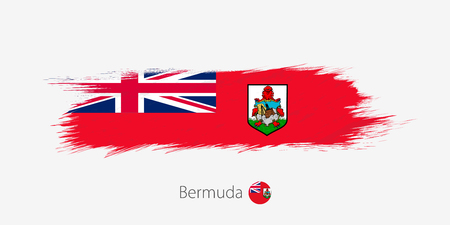Flag of Bermuda, grunge abstract brush stroke on gray background. Vector illustration. Ilustração