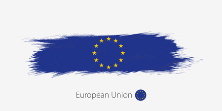 Flag of European Union, grunge abstract brush stroke on gray background. Vector illustration.