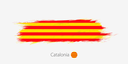 Flag of Catalonia, grunge abstract brush stroke on gray background. Vector illustration. Vectores