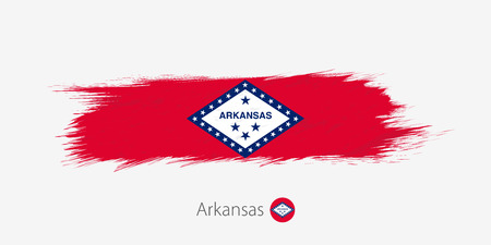 Flag of Arkansas US State, grunge abstract brush stroke on gray background.Vector illustration. Иллюстрация