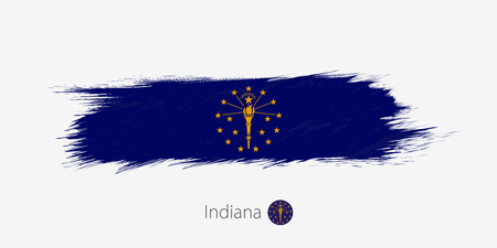 Flag of Indiana US State, grunge abstract brush stroke on gray background.Vector illustration. Illustration