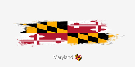 Flag of Maryland US State, grunge abstract brush stroke on gray background.Vector illustration.