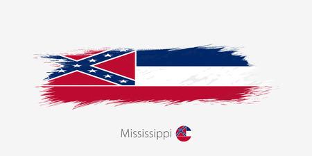 Flag of Mississippi US State, grunge abstract brush stroke on gray background.Vector illustration.