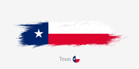 Flag of Texas US State, grunge abstract brush stroke on gray background.Vector illustration.