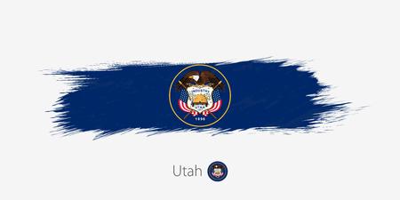 Flag of Utah US State, grunge abstract brush stroke on gray background.Vector illustration.