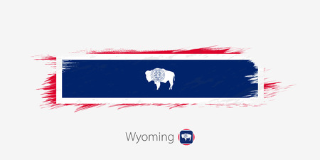 Flag of Wyoming US State, grunge abstract brush stroke on gray background.Vector illustration.  イラスト・ベクター素材