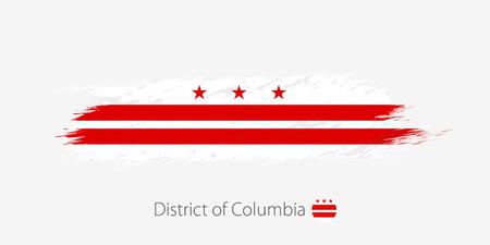 Flagge des District of Columbia, Grunge abstrakter Pinselstrich auf grauem Hintergrund. Vektor-Illustration. Vektorgrafik