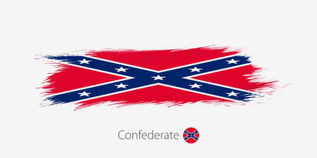 Flag of Confederate, grunge abstract brush stroke on gray background.Vector illustration.