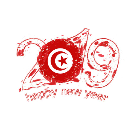 Happy New 2019 Year with flag of Tunisia. Holiday grunge vector illustration.