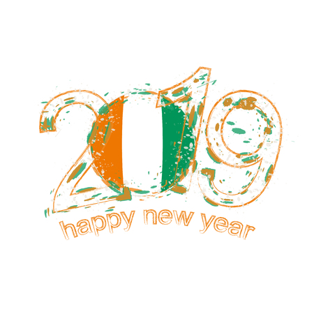 Happy New 2019 Year with flag of Ivory Coast. Holiday grunge vector illustration.