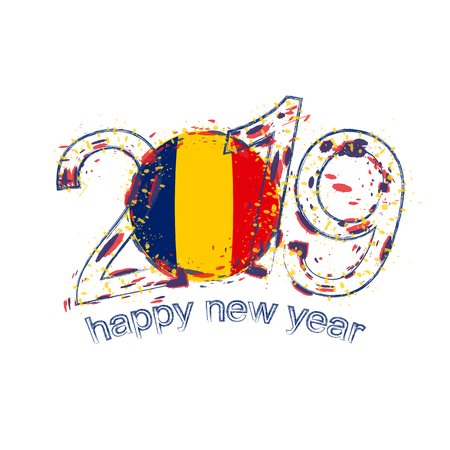 Happy New 2019 Year with flag of Chad. Holiday grunge vector illustration.