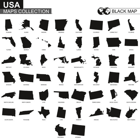 Maps collection of USA states, black contour maps of US state. Vector set. Vettoriali