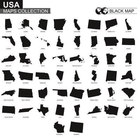 Collection de cartes des États des États-Unis, cartes de contour noir de l'État des États-Unis. Ensemble de vecteur. Vecteurs