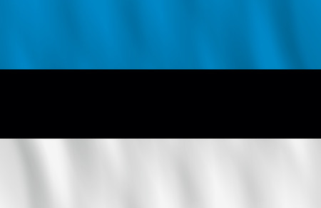 Estonia flag with waving effect, official proportion.