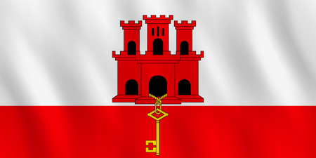 Gibraltar flag with waving effect, official proportion.