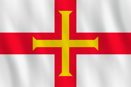 Guernsey flag with waving effect, official proportion.