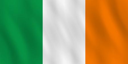 Bandera de Irlanda con efecto ondulado, proporción oficial. Ilustración de vector