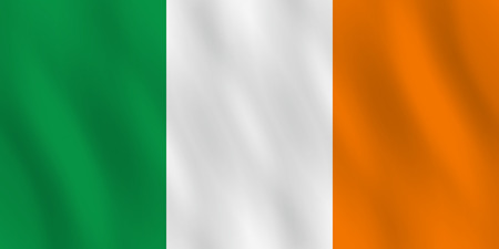 Ireland flag with waving effect, official proportion.