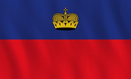 Liechtenstein flag with waving effect, official proportion. Illusztráció