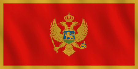 Montenegro flag with waving effect, official proportion. Illustration