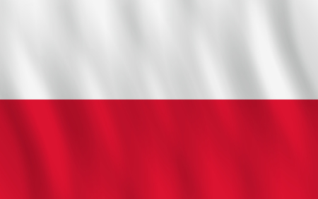 Poland flag with waving effect, official proportion.