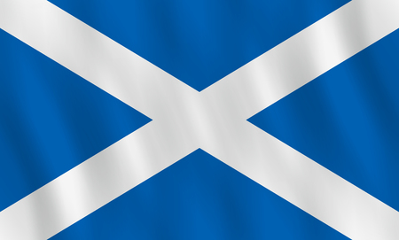 Scotland flag with waving effect, official proportion. Vector Illustration