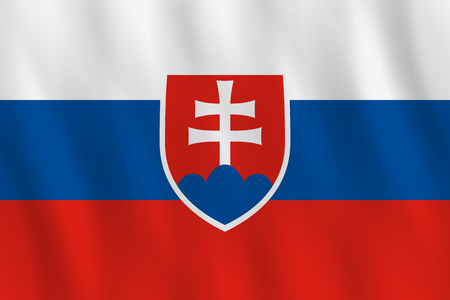 Slovakia flag with waving effect, official proportion.