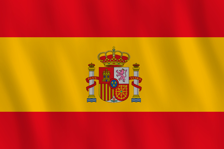 Spain flag with waving effect, official proportion.