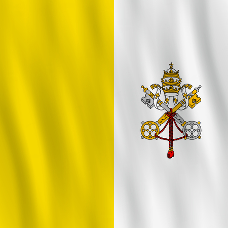 Vatican City flag with waving effect, official proportion.