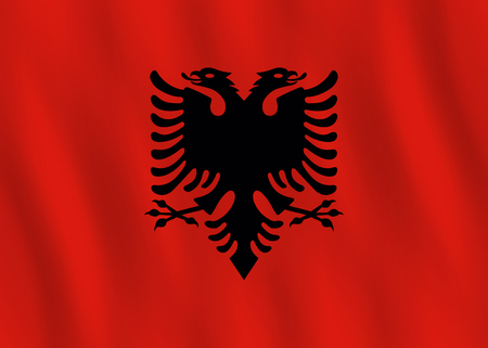 Albania flag with waving effect, official proportion.