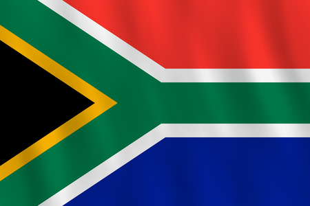 South Africa flag with waving effect, official proportion.