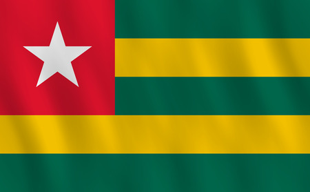 Togo flag with waving effect, official proportion.