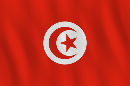 Tunisia flag with waving effect, official proportion.