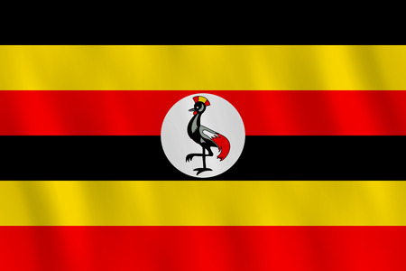 Uganda flag with waving effect, official proportion.