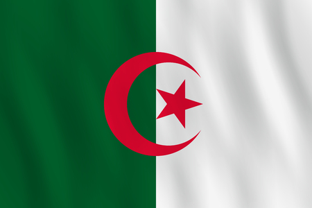 Algeria flag with waving effect, official proportion. Illustration