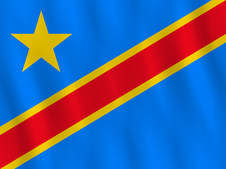 DR Congo flag with waving effect, official proportion. Vector Illustration