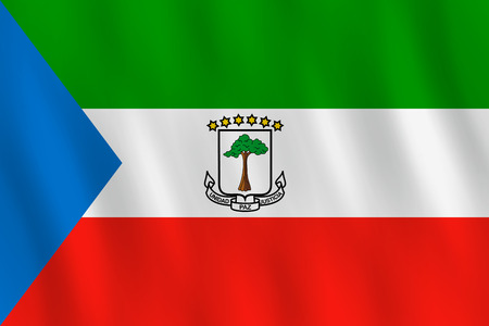 Equatorial Guinea flag with waving effect, official proportion.