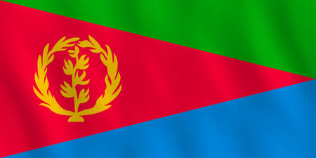 Eritrea flag with waving effect, official proportion.