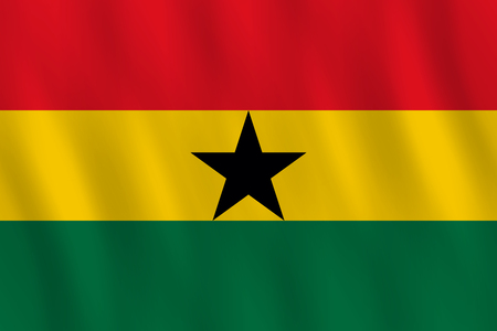 Ghana flag with waving effect, official proportion.